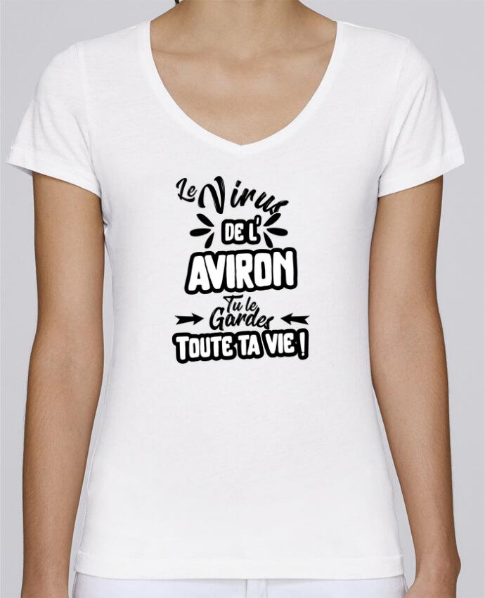 T-shirt Femme Col V Stella Chooses Virus de l'Aviron par Original t-shirt