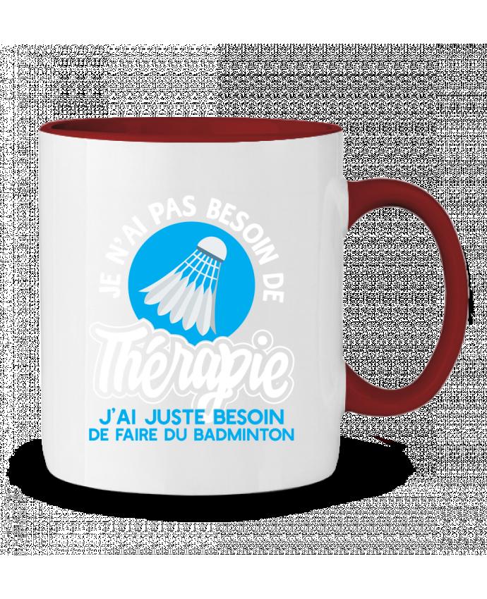 Mug en Céramique Bicolore Thérapie badminton Original t-shirt