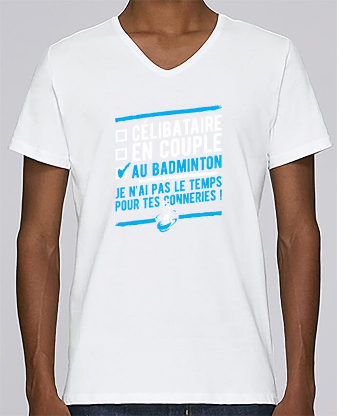 T-shirt Col V Homme Stanley Relaxes Accro badminton par Original t-shirt