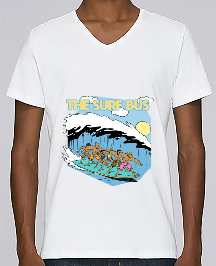 T-shirt Col V Homme Stanley Relaxes The Surf Bus par Tomi Ax - tomiax.fr