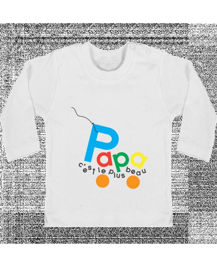 T-shirt Bébé Manches Longues Boutons Pression Papa c'est le plus beau manches longues du designer tunetoo