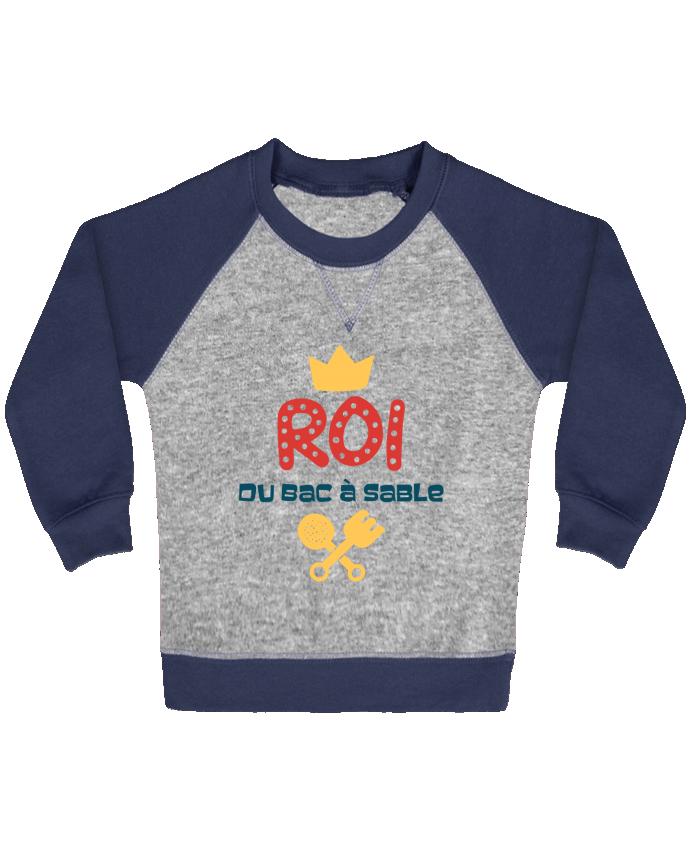 Sweat Shirt Bébé Col Rond Manches Raglan Contrastées Roi du bac à sable par tunetoo