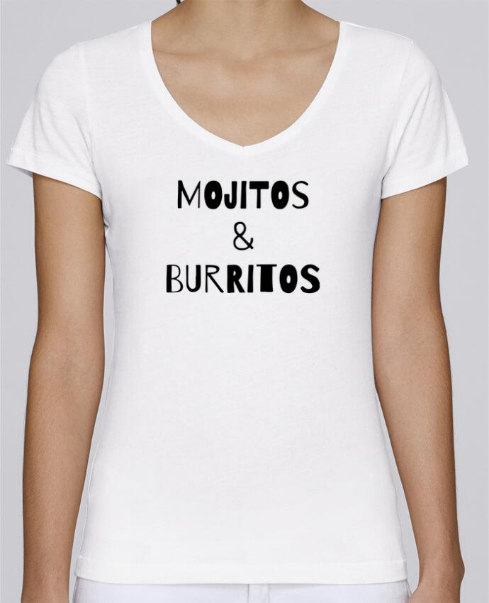 T-shirt Femme Col V Stella Chooses Mojitos & Burritos par tunetoo