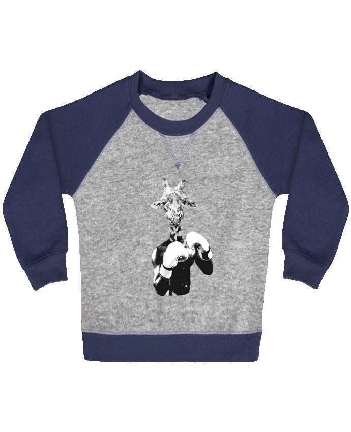 Sweat Shirt Bébé Col Rond Manches Raglan Contrastées Girafe boxe par justsayin