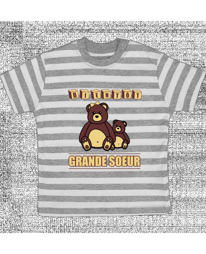 T-shirt Bébé à Rayures Bientôt Grande Soeur par Benichan