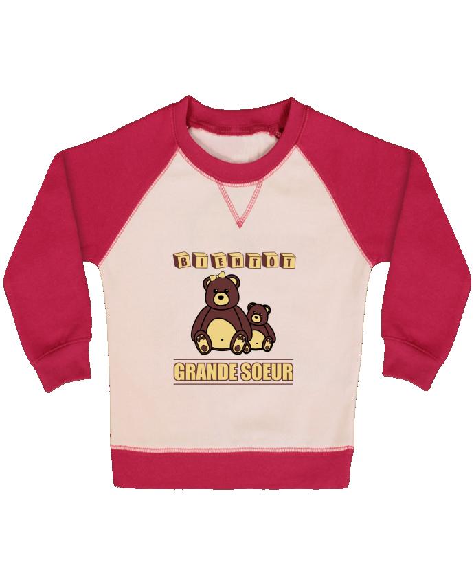 Sweat Shirt Bébé Col Rond Manches Raglan Contrastées Bientôt Grande Soeur par Benichan