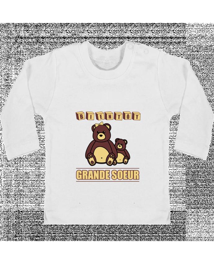 T-shirt Bébé Manches Longues Boutons Pression Bientôt Grande Soeur manches longues du designer Benichan
