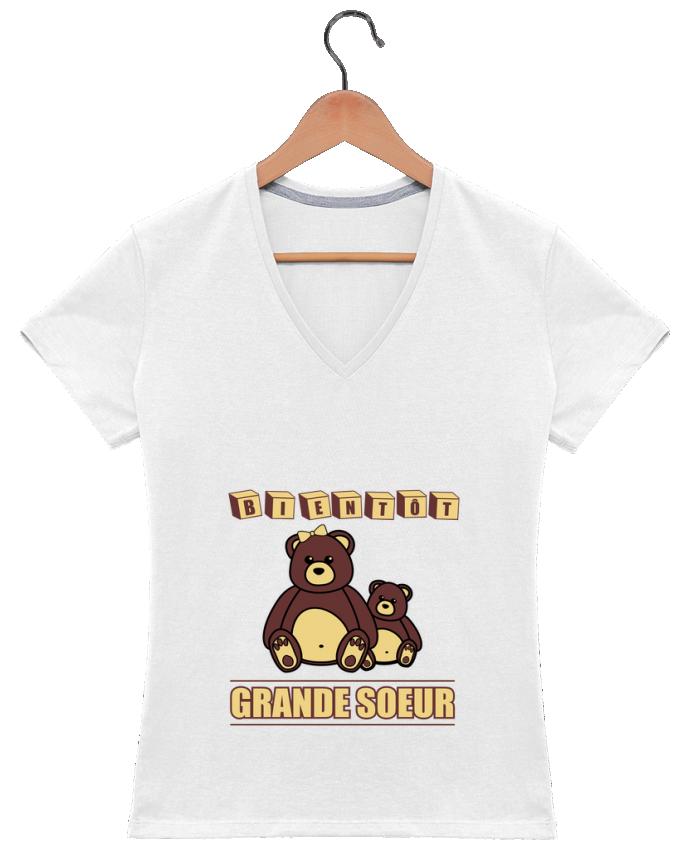 T-shirt Col V Femme 180 gr Bientôt Grande Soeur par Benichan