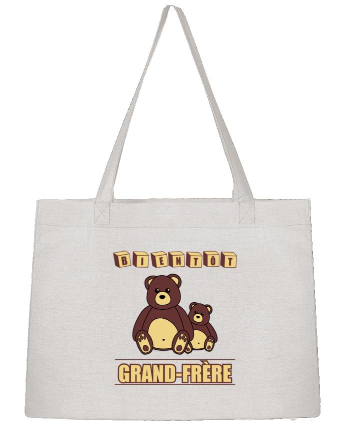 Sac Cabas Shopping Stanley Stella Bientôt Grand-Frère avec ours en peluche mignon par Benichan