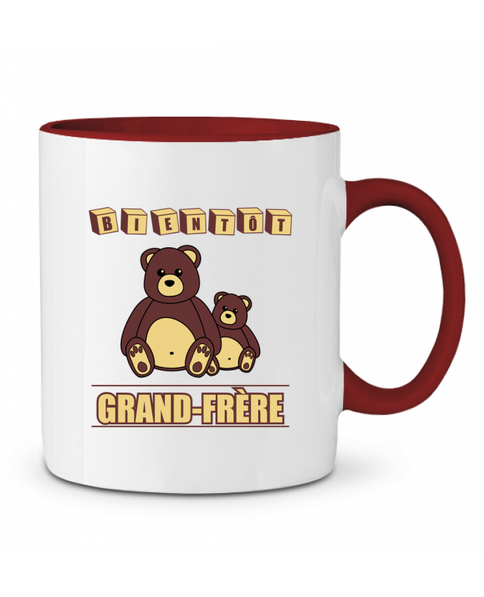 Mug en Céramique Bicolore Bientôt Grand-Frère avec ours en peluche mignon Benichan