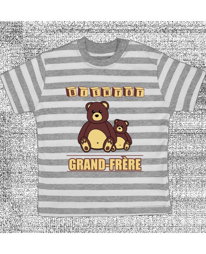 T-shirt Bébé à Rayures Bientôt Grand-Frère avec ours en peluche mignon par Benichan