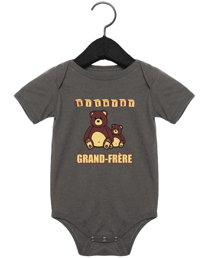 Body Bébé Bientôt Grand-Frère avec ours en peluche mignon par Benichan
