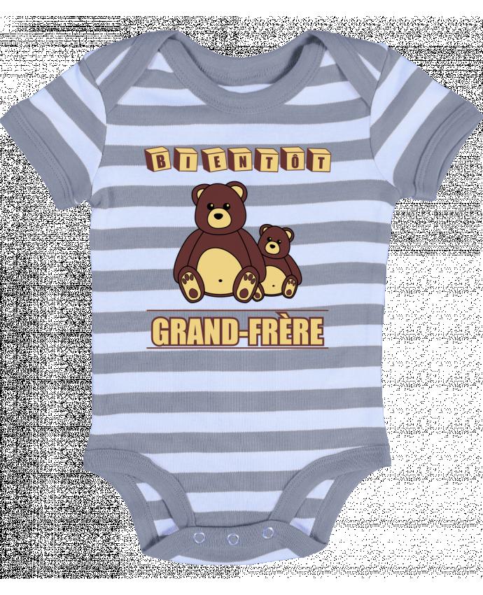 Body Bébé à Rayures Bientôt Grand-Frère avec ours en peluche mignon - Benichan