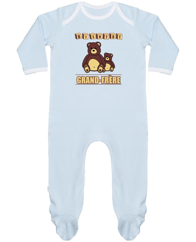 Pyjama Bébé Manches Longues Contrasté Bientôt Grand-Frère avec ours en peluche mignon par Benichan