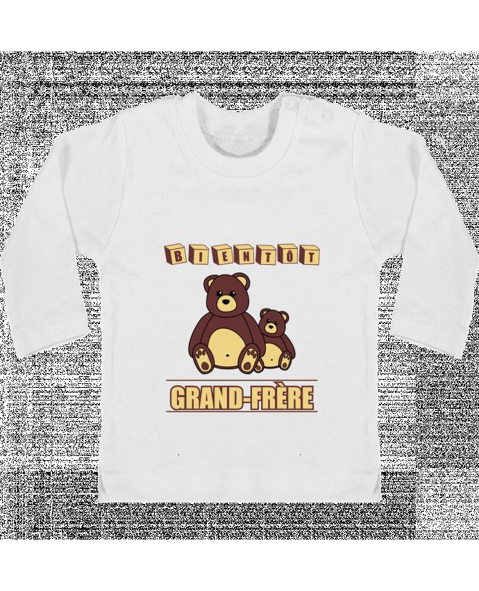 T-shirt Bébé Manches Longues Boutons Pression Bientôt Grand-Frère avec ours en peluche mignon manches longues du designer Benichan