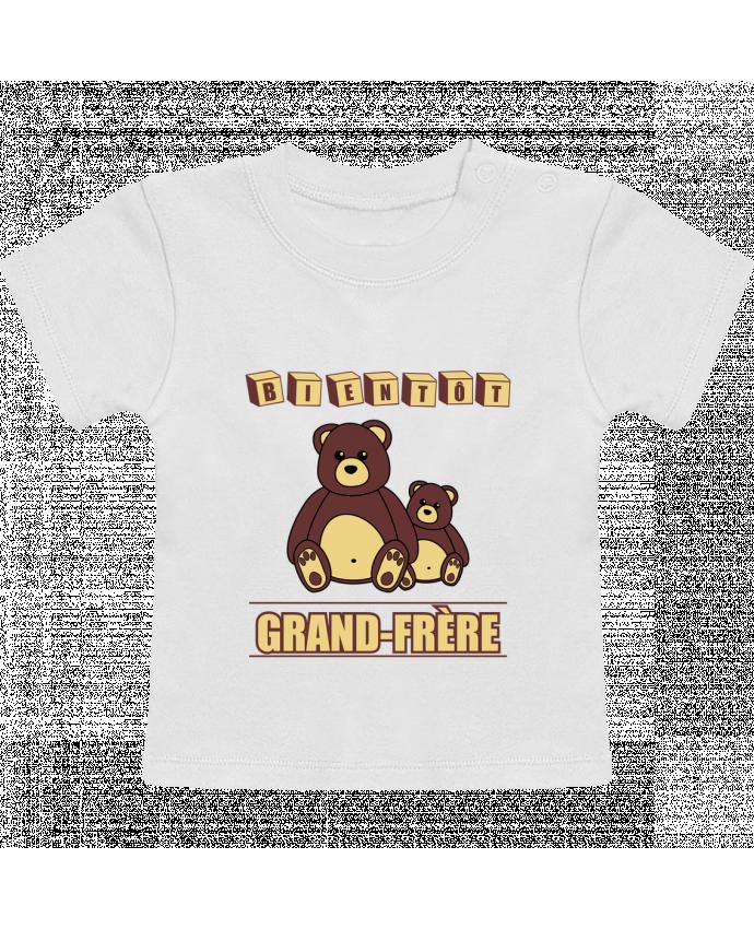 T-Shirt Bébé Manches Courtes Bientôt Grand-Frère avec ours en peluche mignon manches courtes du designer Benichan