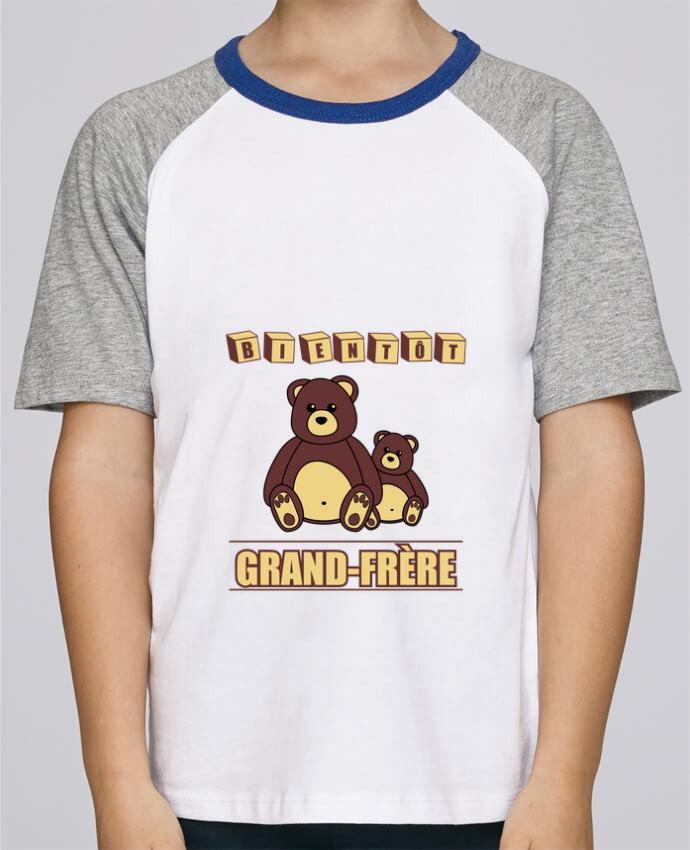 Tee-Shirt Enfant Stanley Mini Jump Short Sleeve Bientôt Grand-Frère avec ours en peluche mignon par Benichan