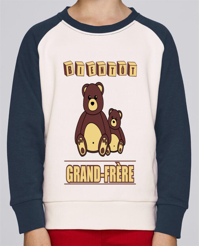 Sweat Shirt Col Rond Enfant Stanley Mini Contrast Bientôt Grand-Frère avec ours en peluche mignon par Benichan