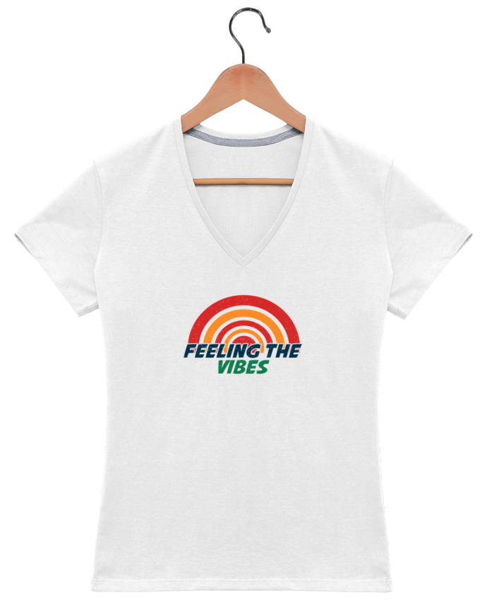 T-shirt Col V Femme 180 gr Feeling the vibes par tunetoo