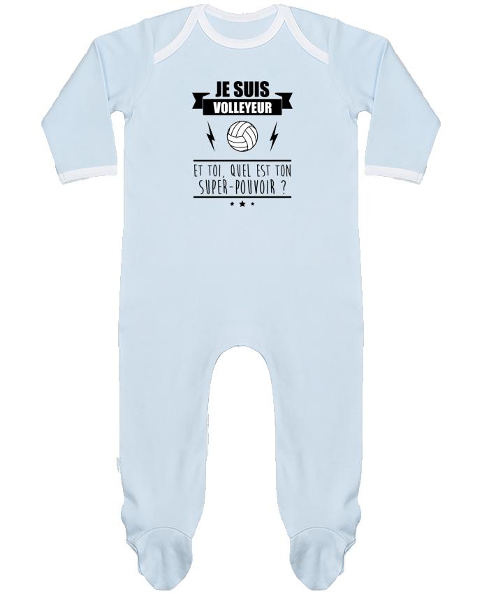 Pyjama Bébé Manches Longues Contrasté Je suis volleyeur et toi, quel est ton super-pouvoir ? par Benichan