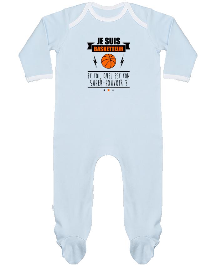 Pyjama Bébé Manches Longues Contrasté Je suis basketteur et toi, quel est ton super-pouvoir ? par Benichan