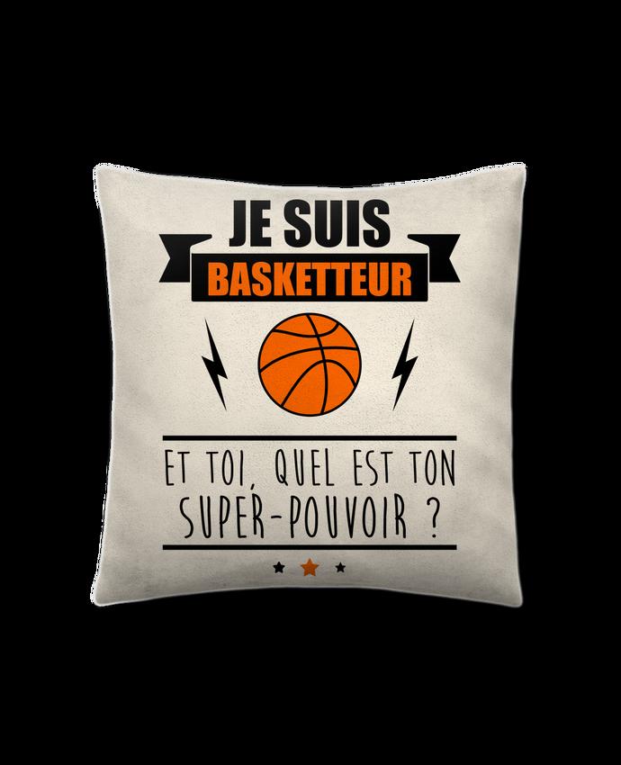 Coussin Toucher Peau de Pêche 41 x 41 cm Je suis basketteur et toi, quel est ton super-pouvoir ? par Benichan