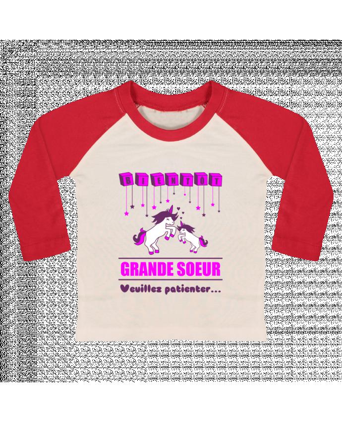 T-shirt Bébé Baseball Manches Longues Bientôt Grande Soeur, licorne par Benichan