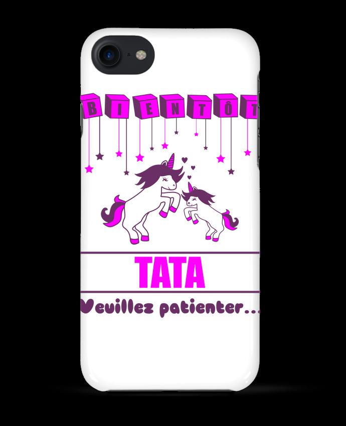 Coque 3D Iphone 7 Bientôt Tata, future Tante, licorne de Benichan