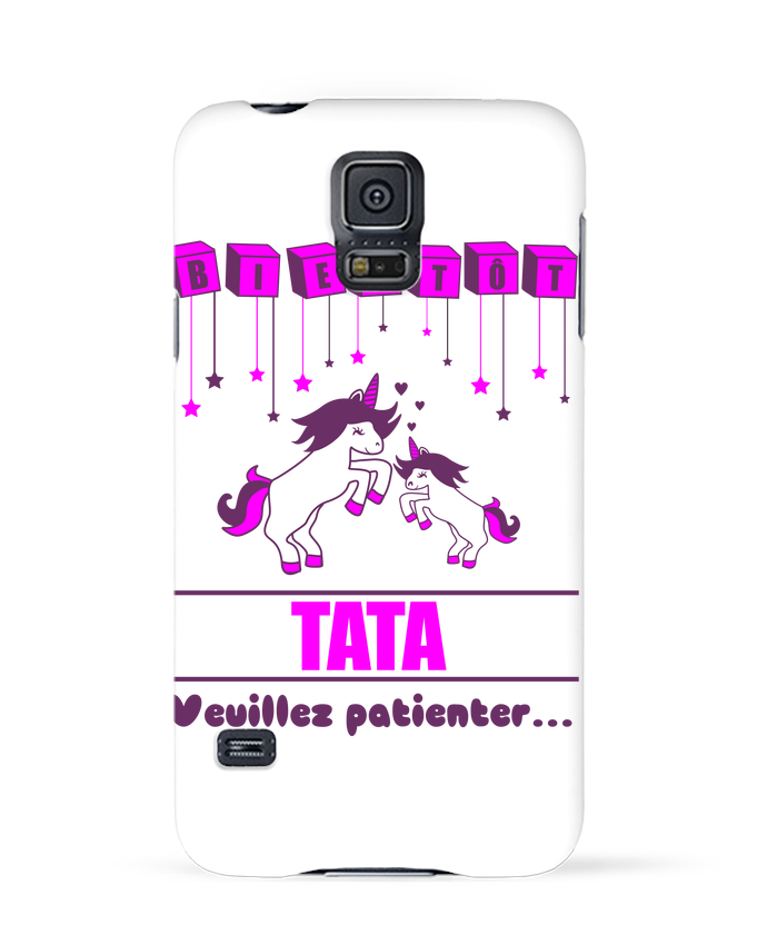 Coque Samsung Galaxy S5 Bientôt Tata, future Tante, licorne par Benichan