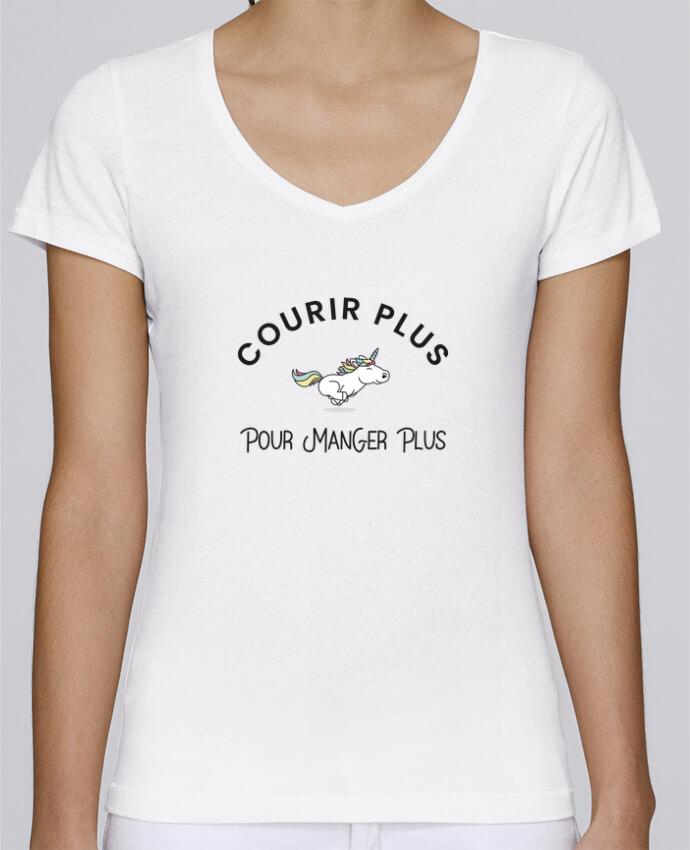 T-shirt Femme Col V Stella Chooses Courir plus pour manger plus - Licorne par Folie douce