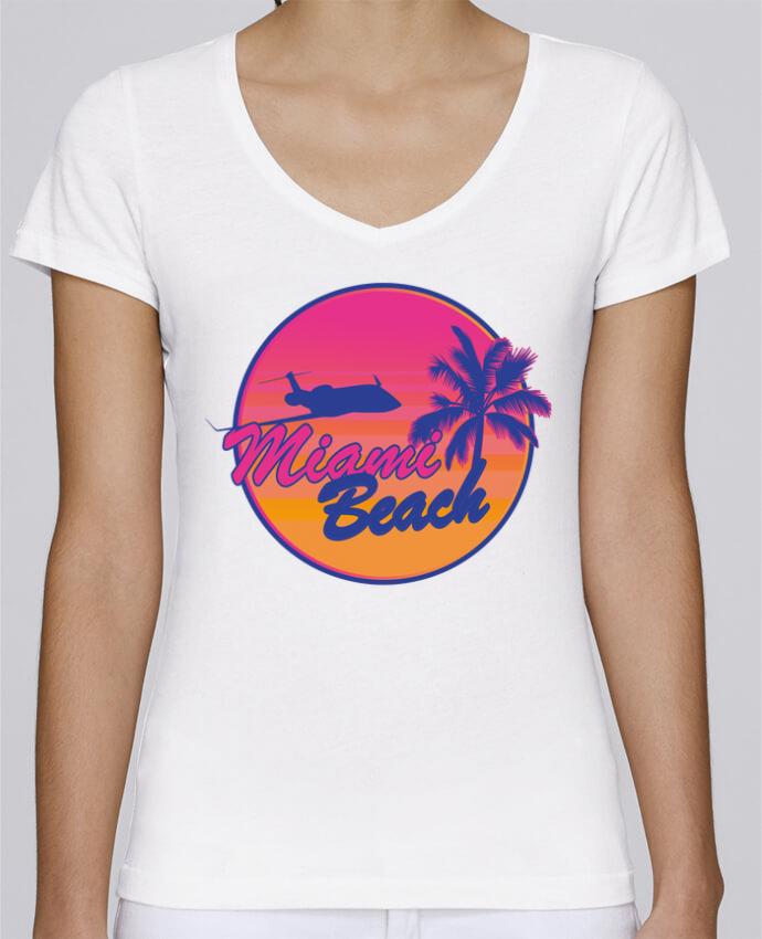 T-shirt Femme Col V Stella Chooses miami beach par Revealyou
