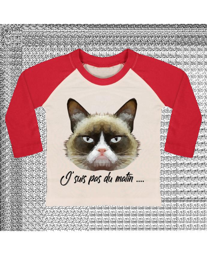 T-shirt Bébé Baseball Manches Longues je suis pas du matin par DesignMe