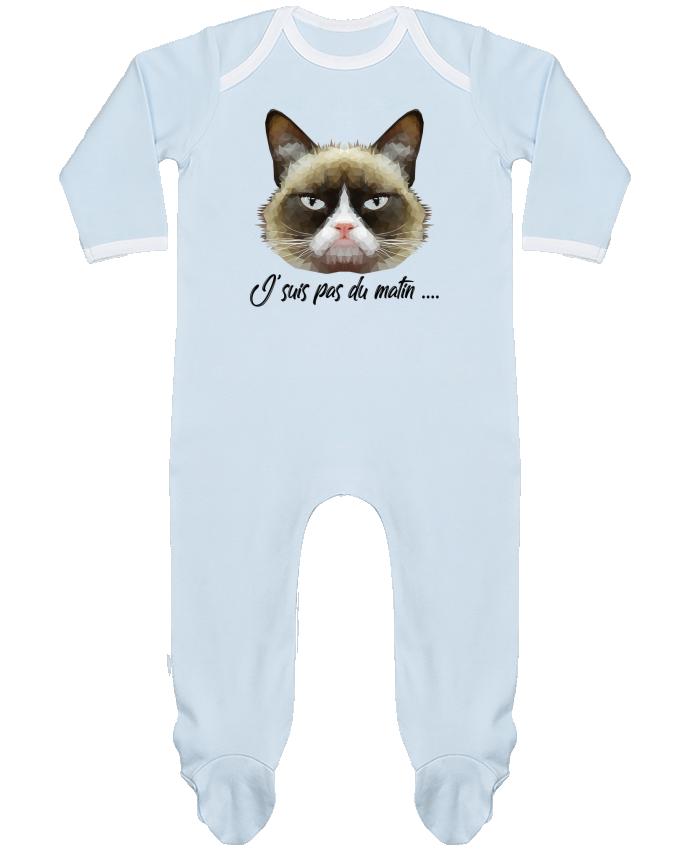 Pyjama Bébé Manches Longues Contrasté je suis pas du matin par DesignMe