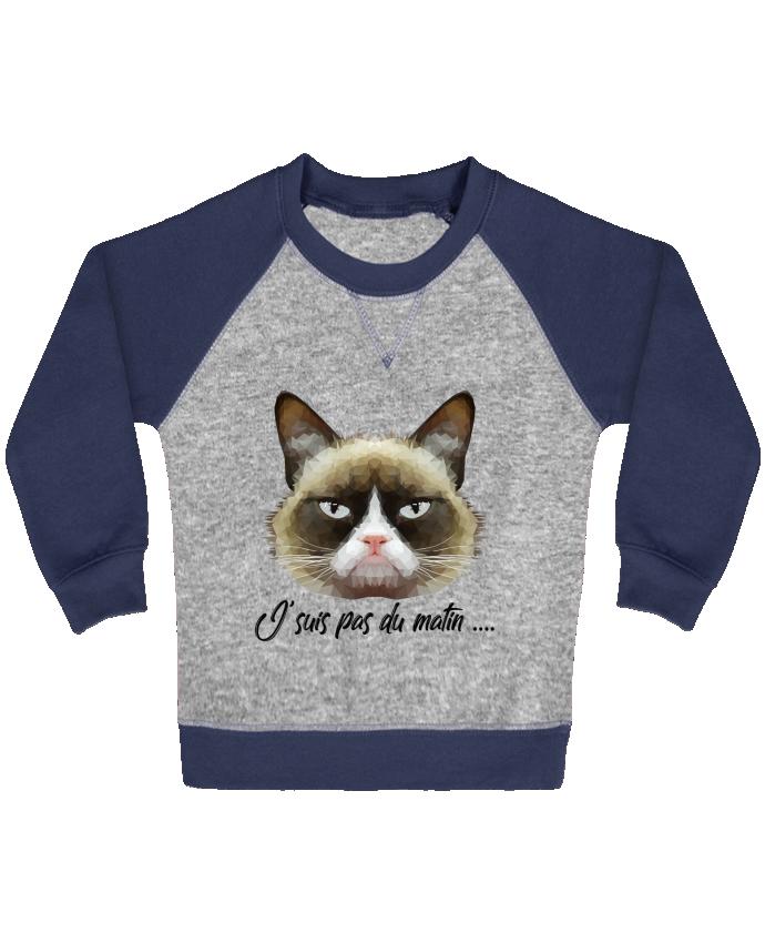 Sweat Shirt Bébé Col Rond Manches Raglan Contrastées je suis pas du matin par DesignMe