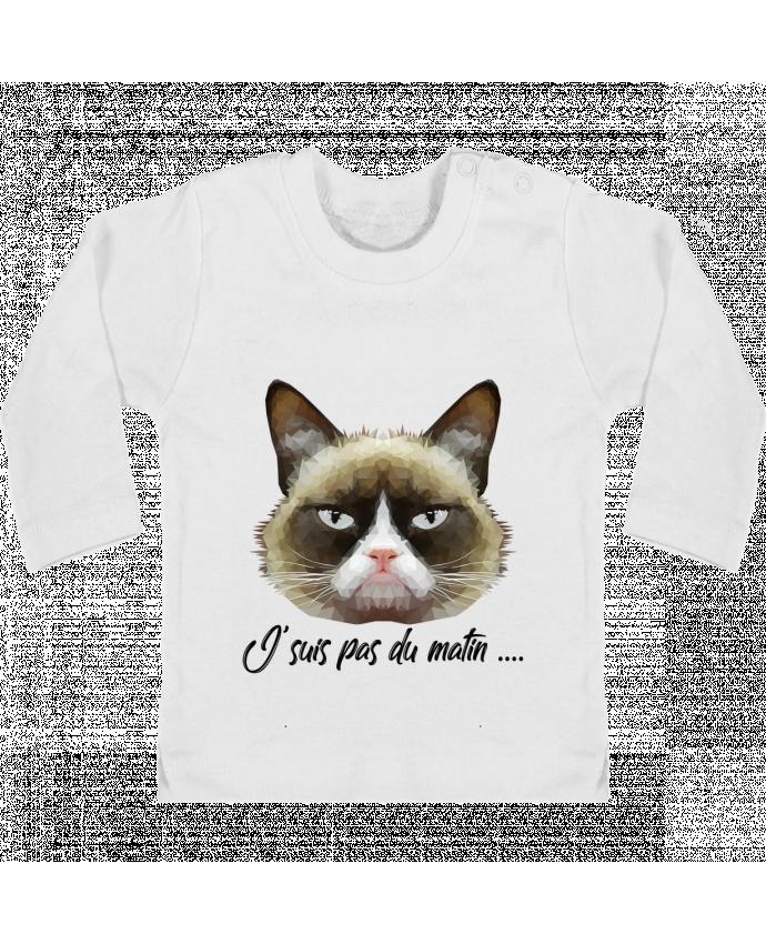 T-shirt Bébé Manches Longues Boutons Pression je suis pas du matin manches longues du designer DesignMe