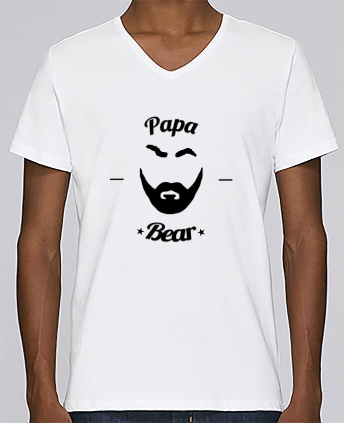 T-shirt Col V Homme Stanley Relaxes Papa Bear par Ju Lie