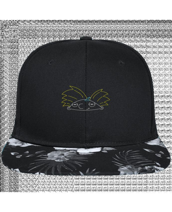 Casquette SnapBack Visière Graphique Fleur Hawaii Arnold brodé brodé avec toile noire 100% coton et visière imprimée fleurs 10