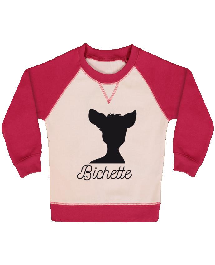 Sweat Shirt Bébé Col Rond Manches Raglan Contrastées Bichette par FRENCHUP-MAYO