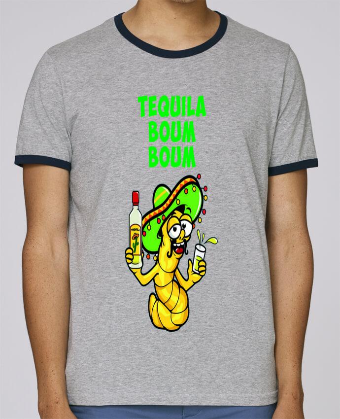 T-Shirt Ringer Contrasté Homme Stanley Holds Tequila boum boum pour femme par mollymolly