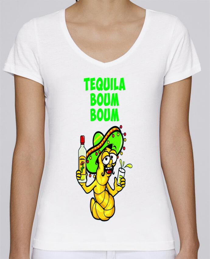 T-shirt Femme Col V Stella Chooses Tequila boum boum par mollymolly