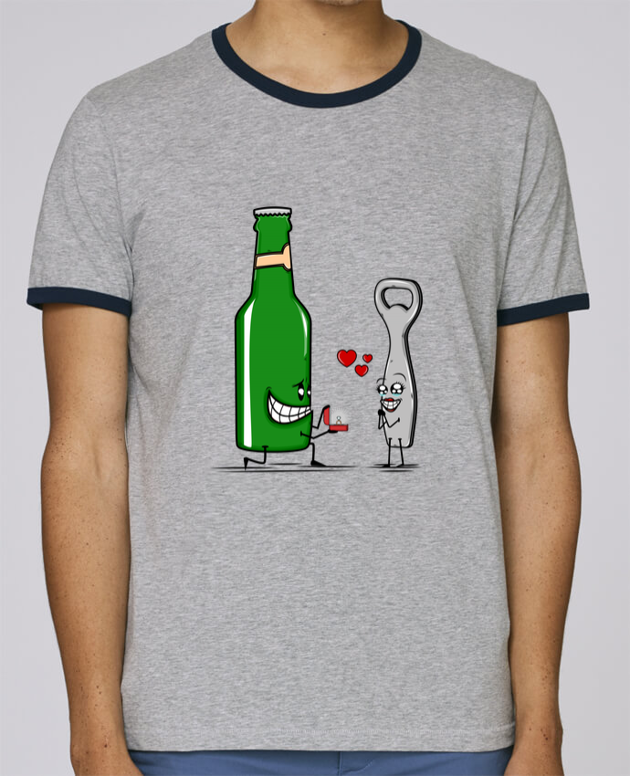 T-Shirt Ringer Contrasté Homme Stanley Holds BEER ROMANCE pour femme par PTIT MYTHO