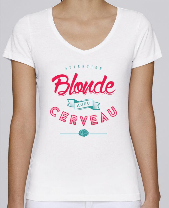 T-shirt Femme Col V Stella Chooses BLONDE AVEC CERVEAU par PTIT MYTHO
