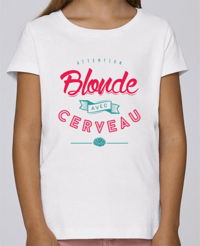 T-shirt Fille Mini Stella Draws BLONDE AVEC CERVEAU par PTIT MYTHO