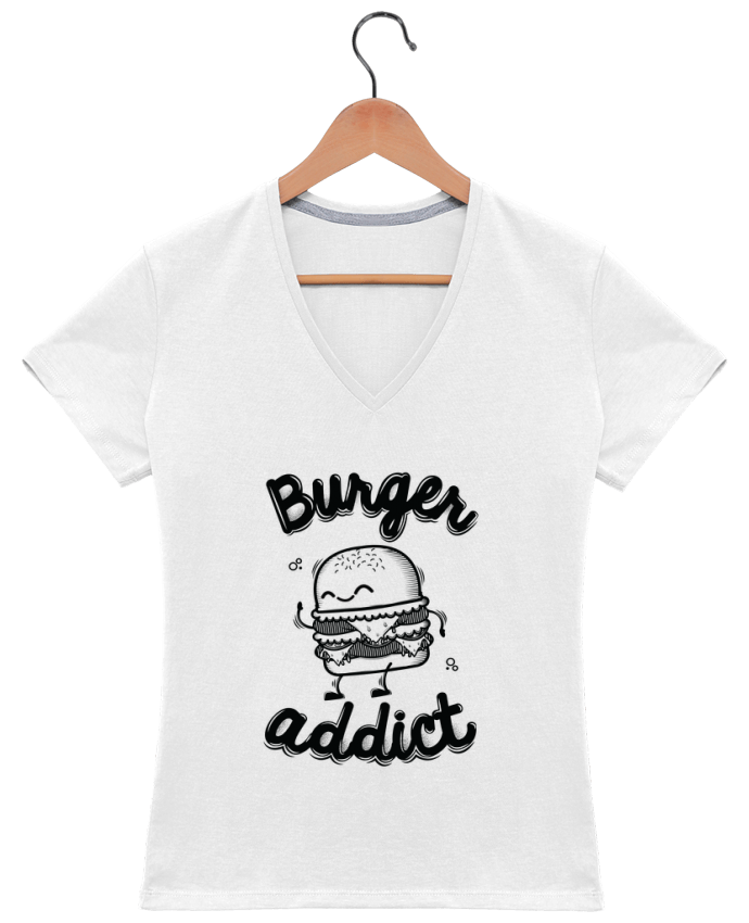T-shirt Col V Femme 180 gr BURGER ADDICT par PTIT MYTHO