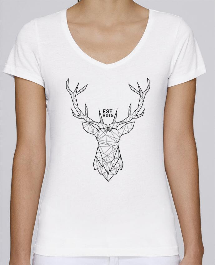 T-shirt Femme Col V Stella Chooses CERF GRAPHIQUE par PTIT MYTHO