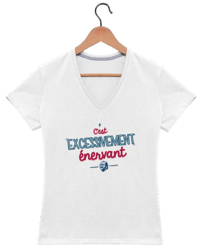 T-shirt Col V Femme 180 gr C'EST  EXCESSIVEMENT ENERVANT par PTIT MYTHO
