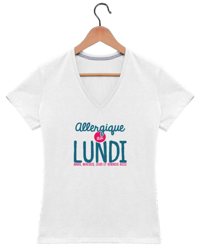 T-shirt Col V Femme 180 gr ALLERGIQUE AU LUNDI ... MAIS PAS QUE par PTIT MYTHO
