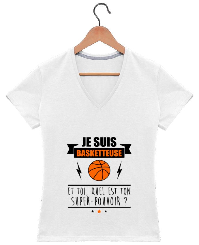T-shirt Col V Femme 180 gr Je suis basketteuse et toi, quel est ton super-pouvoir ? par Benichan