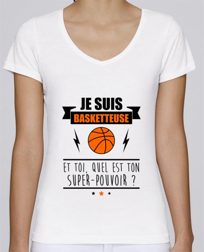 T-shirt Femme Col V Stella Chooses Je suis basketteuse et toi, quel est ton super-pouvoir ? par Beni