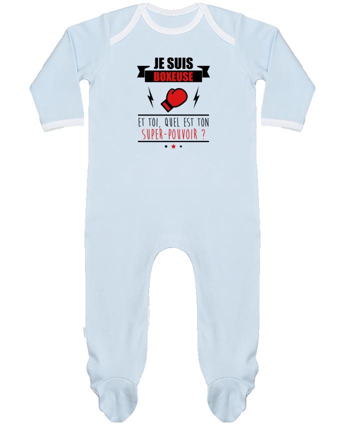 Pyjama Bébé Manches Longues Contrasté Je suis boxeuse et toi, quel est ton super-pouvoir ? par Benichan